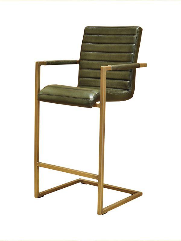Sabina-Barstool-British-Green-(Glossy)-E-Stitching-Brass-Antique-Metal-Frame-Pure-Furniture1
