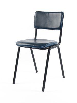 Schoolchair-Blue-(Glossy)-Matt-Black-Metal-Frame2