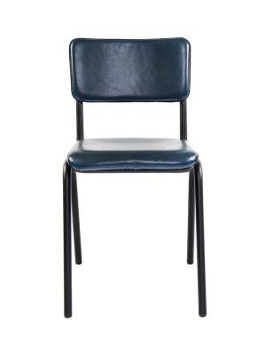 Schoolchair-Blue-(Glossy)-Matt-Black-Metal-Frame3