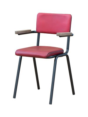 Schoolchair-With-Arms-Red-matt-Pure-Furniture1
